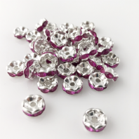 50 Rhinestone rondelle 6mm spacer beads Rose